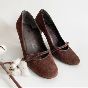 Zara Brown Suede Leather Pumps Shoes Size 8